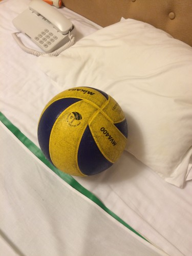 病院に持参したバレーボール